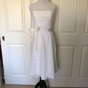 STRAPLESS WHITE EYELET SUNDRESS BOW GRAD WEDDING